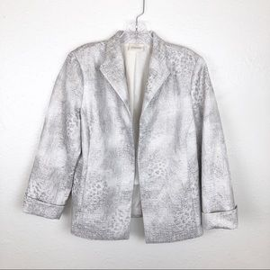 NWOT Chico's White Silver Metallic Blazer M (1)